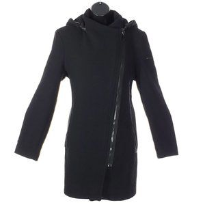 CALVIN KLEIN Pea Coat Hooded Wool Faux Leather